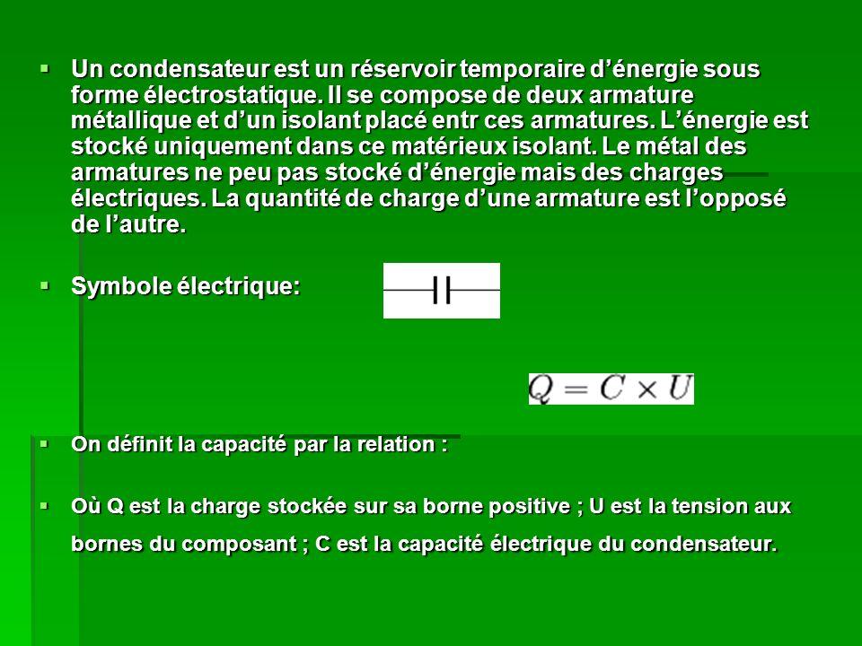 Un condensateur est un réservoir temporaire dénergie sous forme électrostatique.