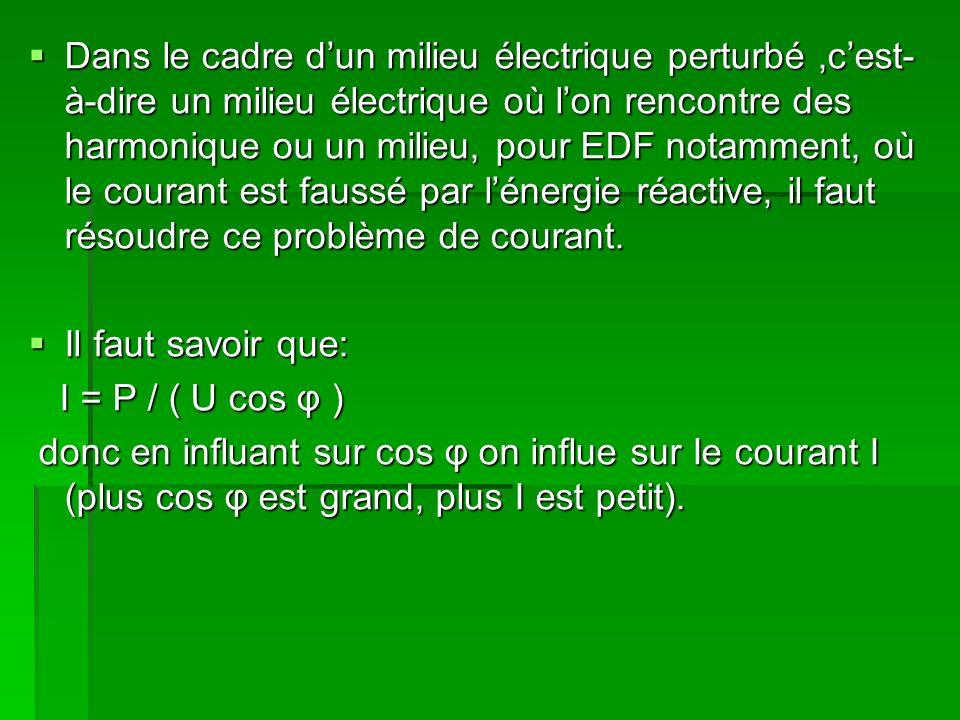 Dans le cadre dun milieu électrique perturbé,cest- à-dire un milieu électrique où lon rencontre des harmonique ou un milieu, pour EDF notamment, où le courant est faussé par lénergie réactive, il faut résoudre ce problème de courant.