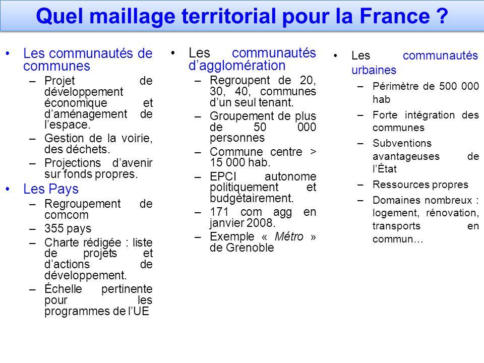 Quel maillage territorial pour la France ? Les communautés de communes –Projet de développement économique et daménagement de lespace. –Gestion de la