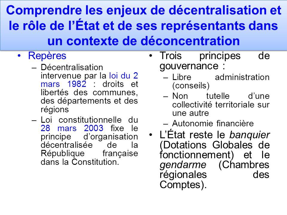 Comprendre les enjeux de décentralisation et le rôle de lÉtat et de ses représentants dans un contexte de déconcentration Repères –Décentralisation in