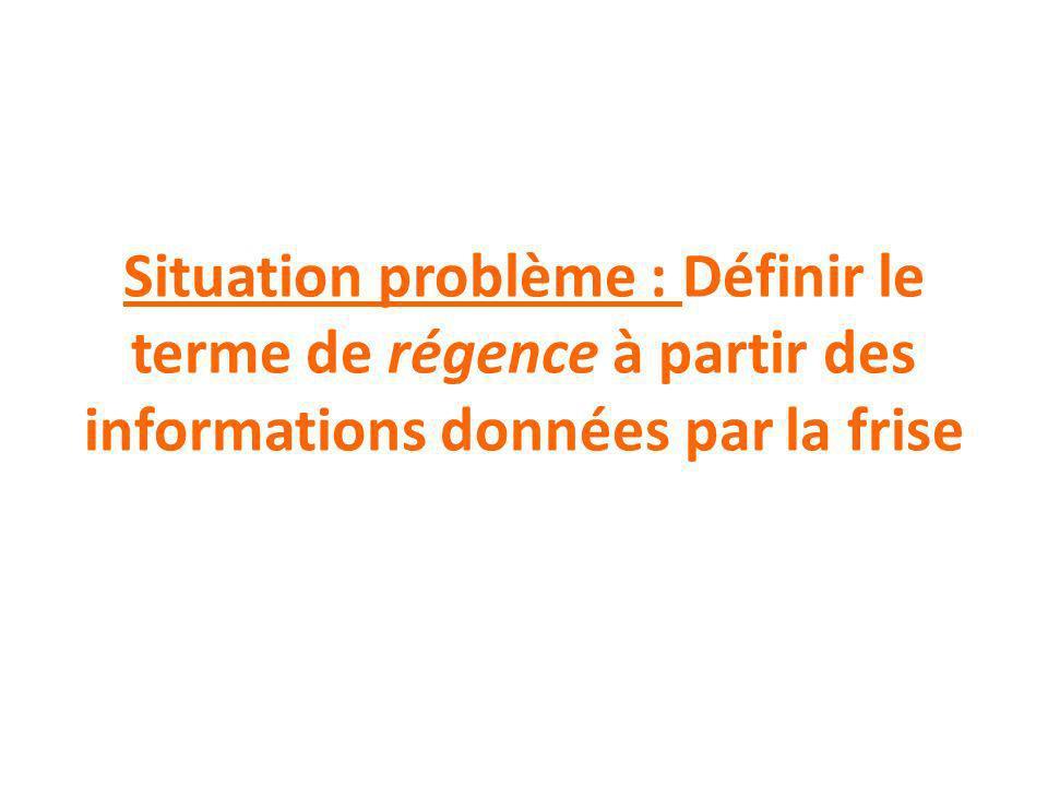 Situation problème : Définir le terme de régence à partir des informations données par la frise