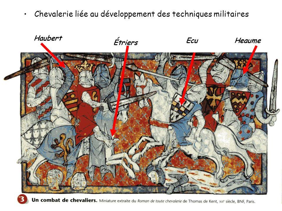 Chevalerie liée au développement des techniques militaires Haubert Étriers EcuHeaume