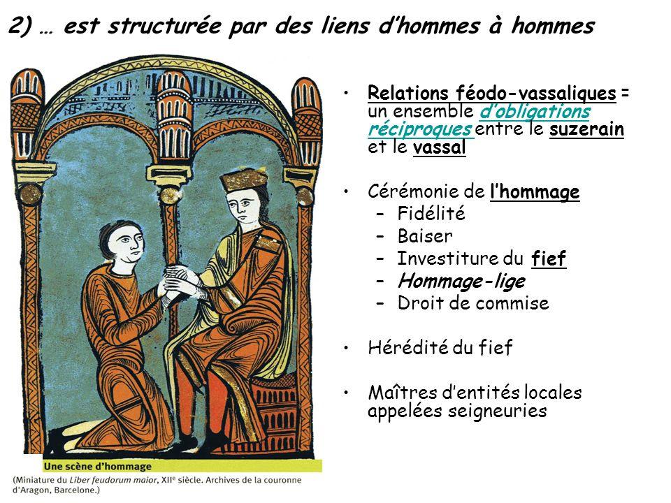 2) … est structurée par des liens dhommes à hommes Relations féodo-vassaliques = un ensemble dobligations réciproques entre le suzerain et le vassaldo