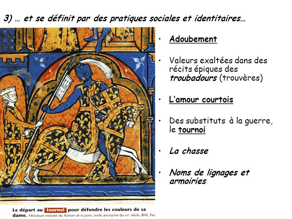 3) … et se définit par des pratiques sociales et identitaires… Adoubement Valeurs exaltées dans des récits épiques des troubadours (trouvères) Lamour