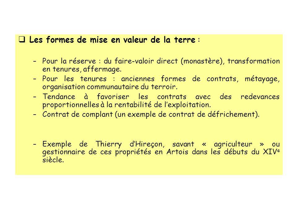 Les formes de mise en valeur de la terre : –Pour la réserve : du faire-valoir direct (monastère), transformation en tenures, affermage. –Pour les tenu