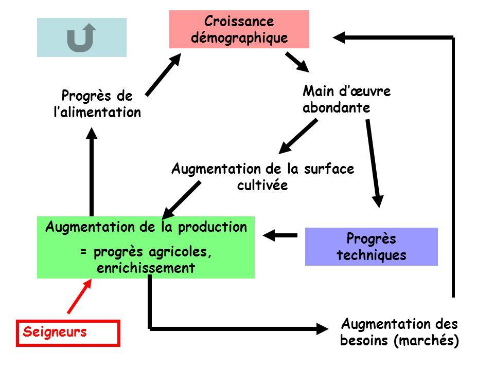Croissance démographique Main dœuvre abondante Augmentation de la production = progrès agricoles, enrichissement Progrès de lalimentation Augmentation