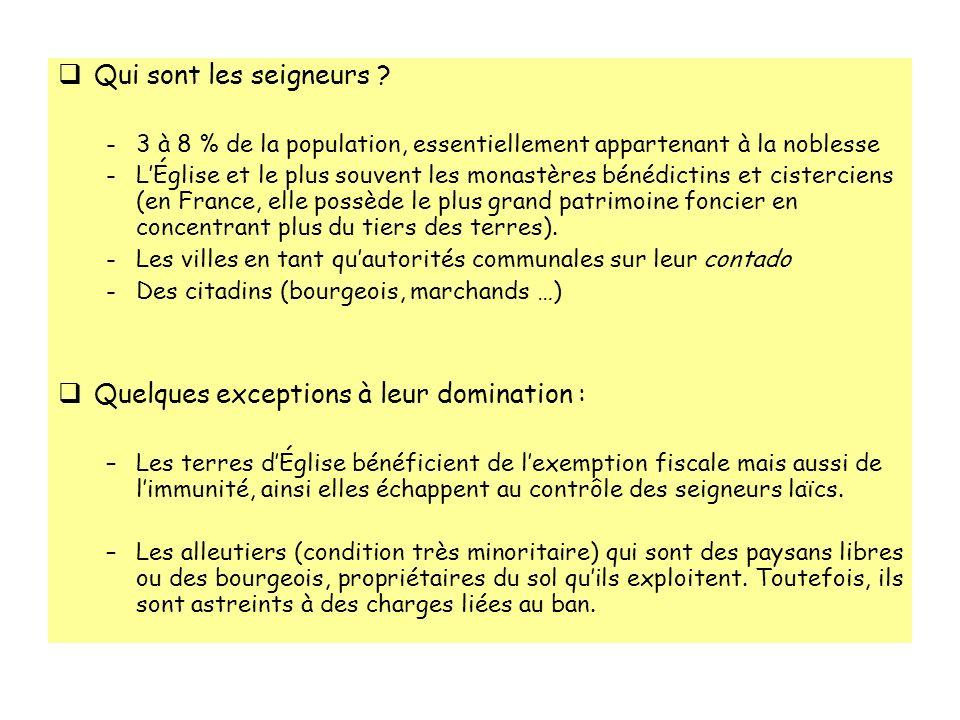 Qui sont les seigneurs ? -3 à 8 % de la population, essentiellement appartenant à la noblesse -LÉglise et le plus souvent les monastères bénédictins e