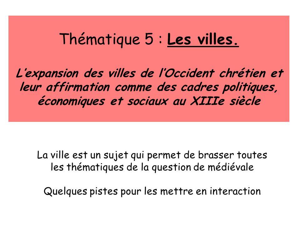 La ville est un sujet qui permet de brasser toutes les thématiques de la question de médiévale Quelques pistes pour les mettre en interaction Thématiq