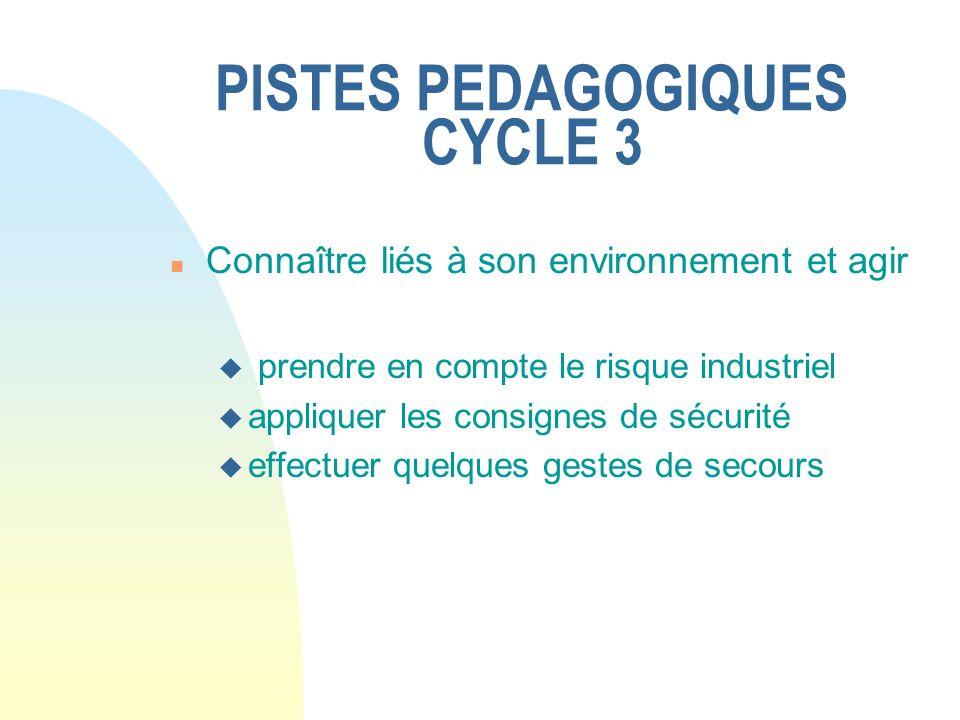 PISTES PEDAGOGIQUES CYCLE 3 n Connaître liés à son environnement et agir u prendre en compte le risque industriel u appliquer les consignes de sécurit