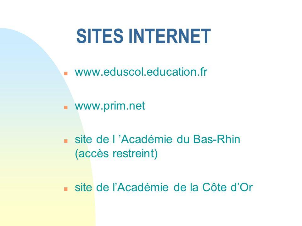 SITES INTERNET n www.eduscol.education.fr n www.prim.net n site de l Académie du Bas-Rhin (accès restreint) n site de lAcadémie de la Côte dOr