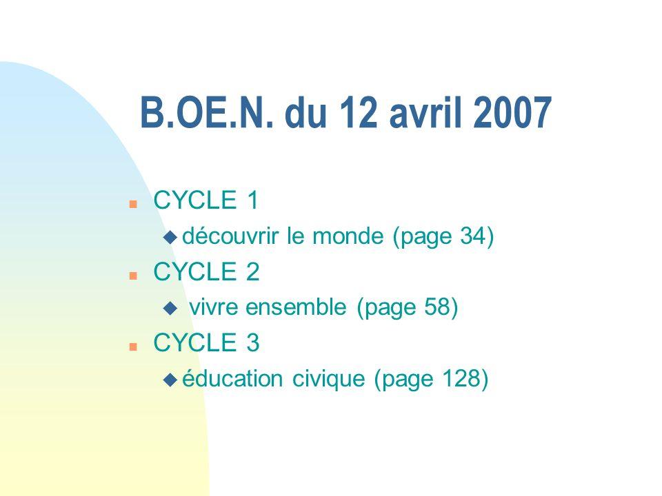 B.OE.N. du 12 avril 2007 n CYCLE 1 u découvrir le monde (page 34) n CYCLE 2 u vivre ensemble (page 58) n CYCLE 3 u éducation civique (page 128)