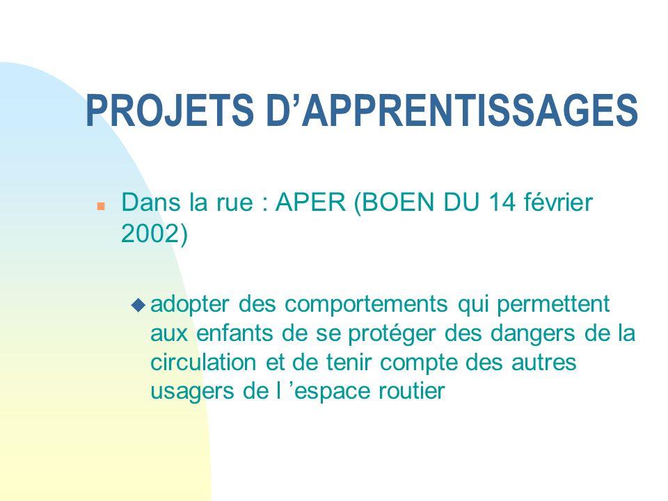 PROJETS DAPPRENTISSAGES n Dans la rue : APER (BOEN DU 14 février 2002) u adopter des comportements qui permettent aux enfants de se protéger des dange