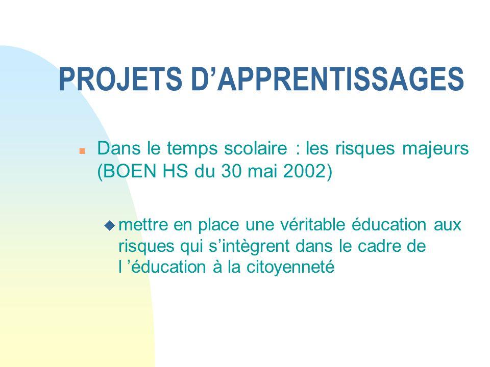 PROJETS DAPPRENTISSAGES n Dans le temps scolaire : les risques majeurs (BOEN HS du 30 mai 2002) u mettre en place une véritable éducation aux risques