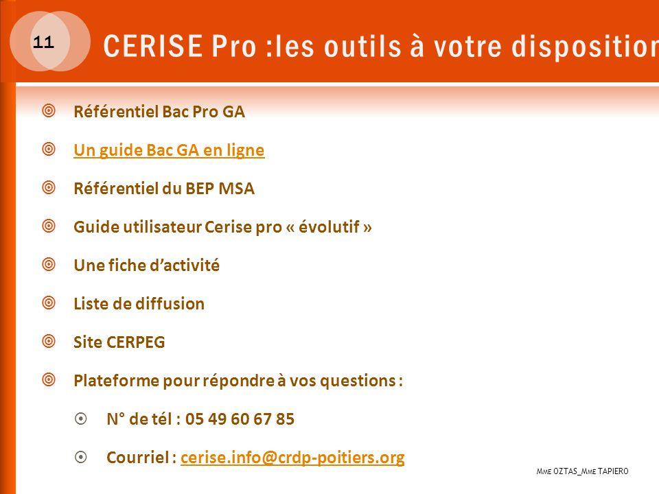 11 CERISE Pro :les outils à votre disposition Référentiel Bac Pro GA Un guide Bac GA en ligne Référentiel du BEP MSA Guide utilisateur Cerise pro « év