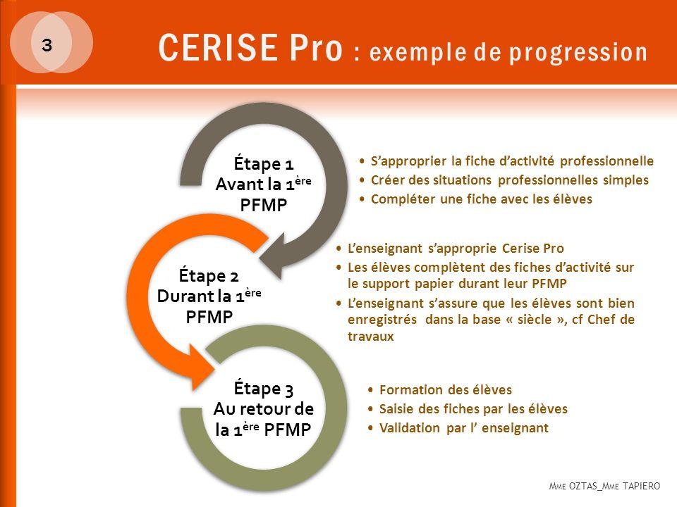 CERISE Pro : une application M ME OZTAS_M ME TAPIERO 4 https://www.cerise-pro.fr/0310094J/ Saisie dune fiche dactivité dans le passeport professionnel dun élève et validation par lenseignant.