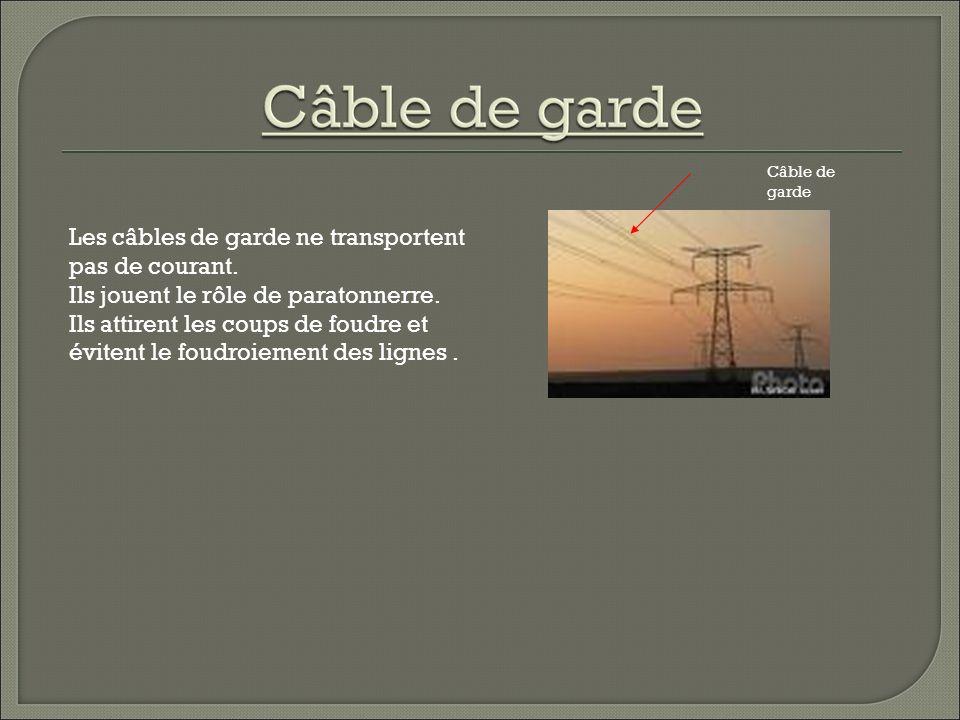 Câble de garde Les câbles de garde ne transportent pas de courant.