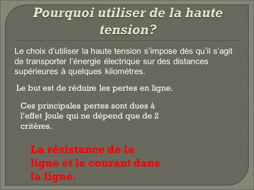 Le choix dutiliser la haute tension simpose dès quil sagit de transporter lénergie électrique sur des distances supérieures à quelques kilomètres.