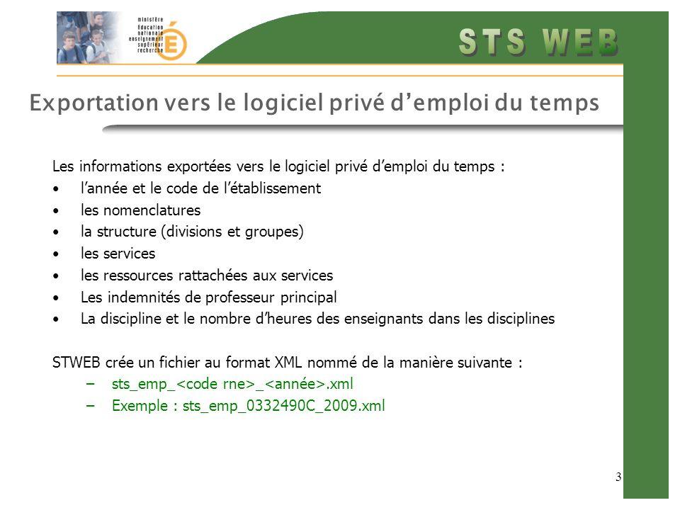 3 Exportation vers le logiciel privé demploi du temps Les informations exportées vers le logiciel privé demploi du temps : lannée et le code de létablissement les nomenclatures la structure (divisions et groupes) les services les ressources rattachées aux services Les indemnités de professeur principal La discipline et le nombre dheures des enseignants dans les disciplines STWEB crée un fichier au format XML nommé de la manière suivante : –sts_emp_ _.xml –Exemple : sts_emp_0332490C_2009.xml