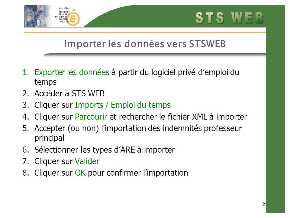 6 Importer les données vers STSWEB 1.Exporter les données à partir du logiciel privé demploi du temps 2.Accéder à STS WEB 3.Cliquer sur Imports / Empl