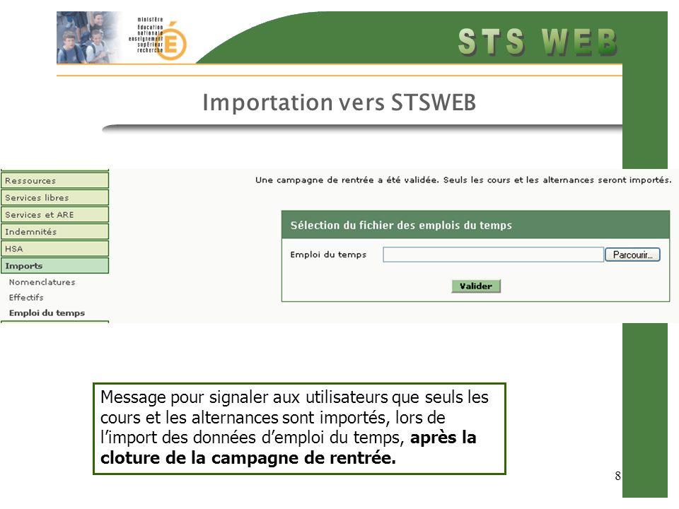 8 Importation vers STSWEB Message pour signaler aux utilisateurs que seuls les cours et les alternances sont importés, lors de limport des données demploi du temps, après la cloture de la campagne de rentrée.