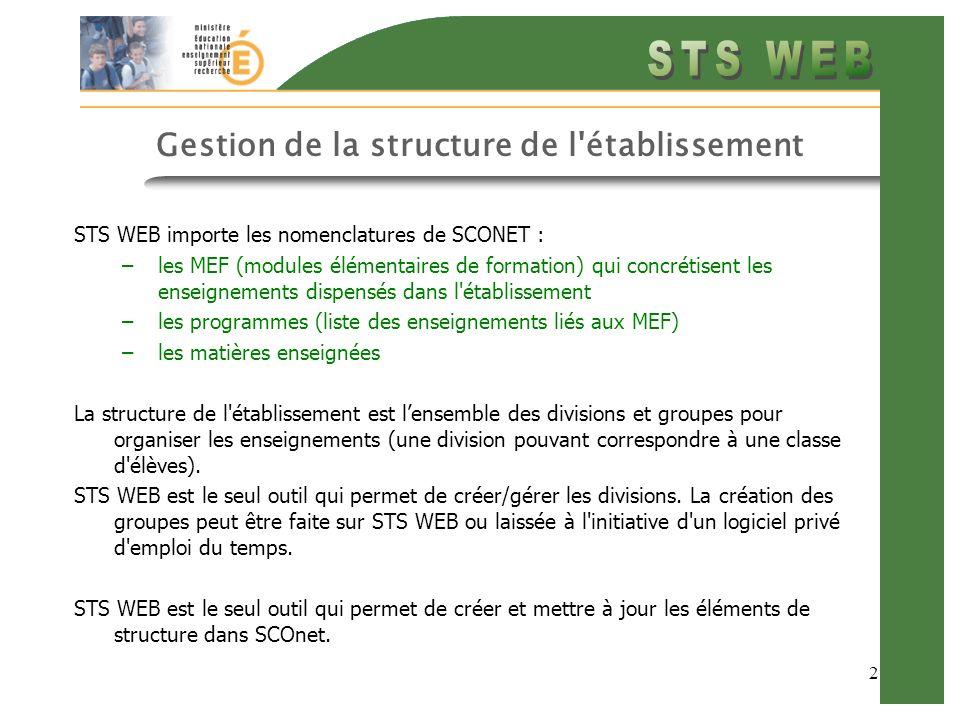 2 Gestion de la structure de l'établissement STS WEB importe les nomenclatures de SCONET : –les MEF (modules élémentaires de formation) qui concrétise