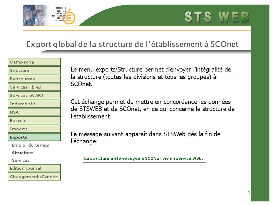 7 Export global de la structure de létablissement à SCOnet Le menu exports/Structure permet denvoyer lintégralité de la structure (toutes les division