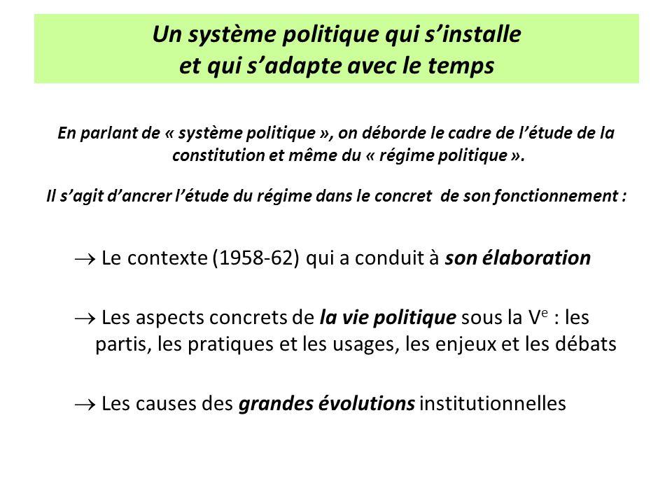 Un système politique qui sinstalle et qui sadapte avec le temps En parlant de « système politique », on déborde le cadre de létude de la constitution
