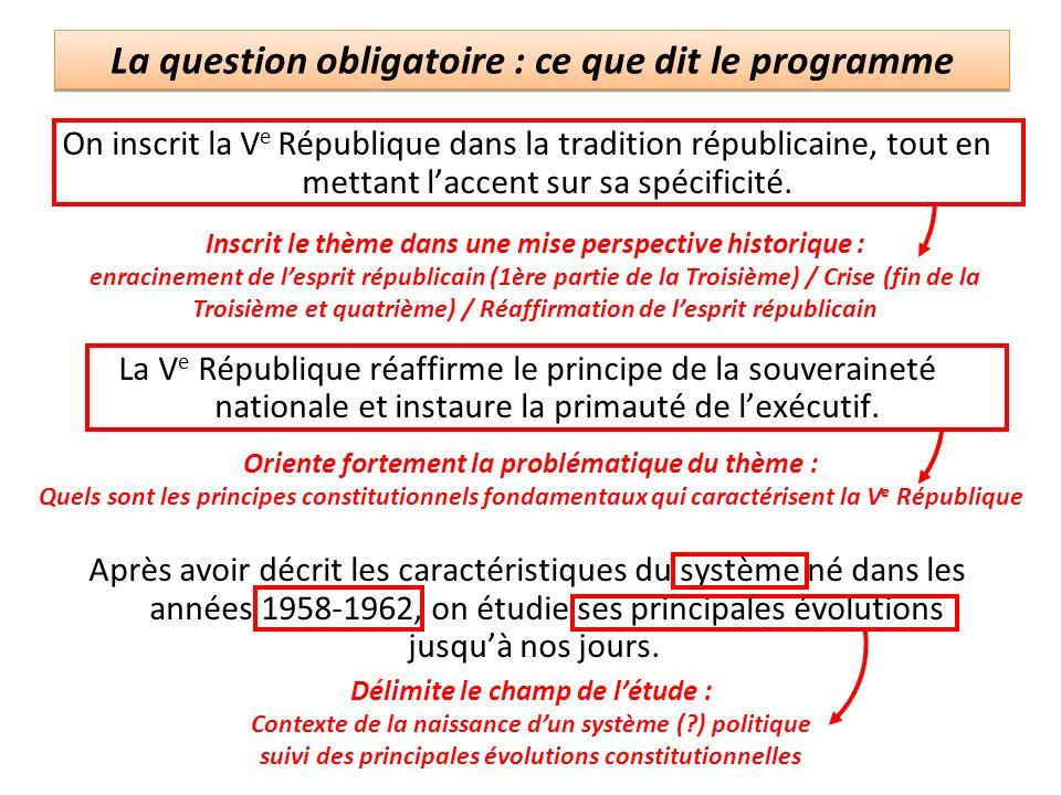 La question obligatoire : ce que dit le programme On inscrit la V e République dans la tradition républicaine, tout en mettant laccent sur sa spécific