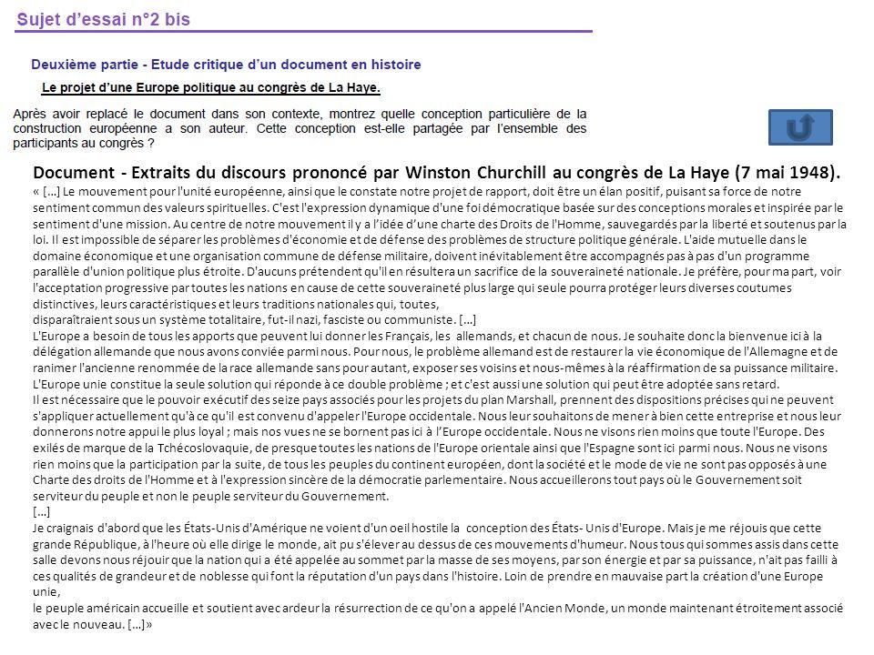 Document - Extraits du discours prononcé par Winston Churchill au congrès de La Haye (7 mai 1948). « […] Le mouvement pour l'unité européenne, ainsi q