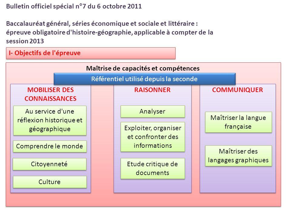 I- Objectifs de l'épreuve Bulletin officiel spécial n°7 du 6 octobre 2011 Baccalauréat général, séries économique et sociale et littéraire : épreuve o