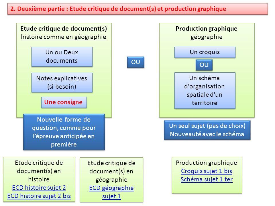 2. Deuxième partie : Etude critique de document(s) et production graphique Etude critique de document(s) histoire comme en géographie Etude critique d