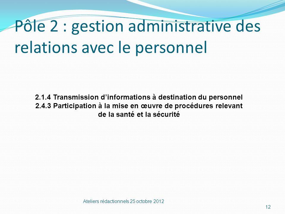 Pôle 2 : gestion administrative des relations avec le personnel Ateliers rédactionnels 25 octobre 2012 12 2.1.4 Transmission dinformations à destinati