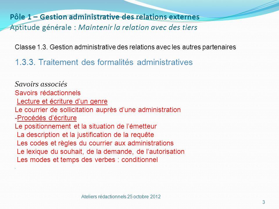 Pôle 1 – Gestion administrative des relations externes Aptitude générale : Maintenir la relation avec des tiers Classe 1.3. Gestion administrative des