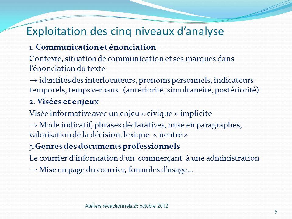 Exploitation des cinq niveaux danalyse 1. Communication et énonciation Contexte, situation de communication et ses marques dans lénonciation du texte