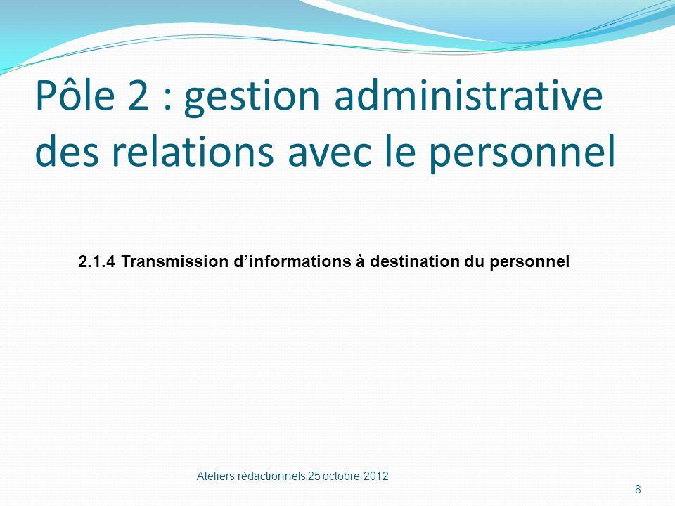 Pôle 2 : gestion administrative des relations avec le personnel Ateliers rédactionnels 25 octobre 2012 8 2.1.4 Transmission dinformations à destinatio