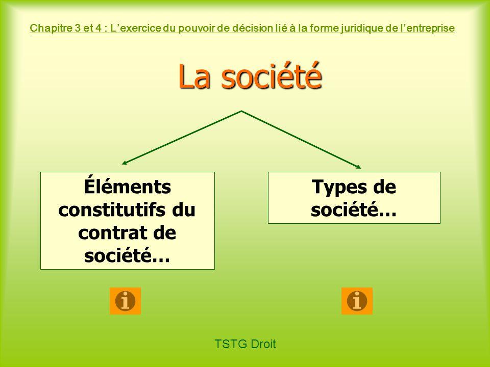 TSTG Droit Chapitre 3 et 4 : Lexercice du pouvoir de décision lié à la forme juridique de lentreprise La société Éléments constitutifs du contrat de s