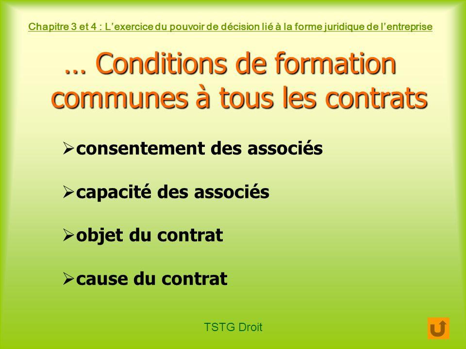 TSTG Droit Chapitre 3 et 4 : Lexercice du pouvoir de décision lié à la forme juridique de lentreprise … Conditions de formation communes à tous les co