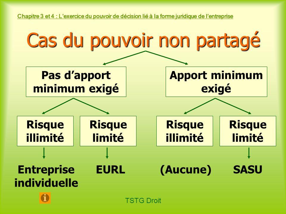 TSTG Droit Chapitre 3 et 4 : Lexercice du pouvoir de décision lié à la forme juridique de lentreprise Cas du pouvoir non partagé Risque illimité EURLS