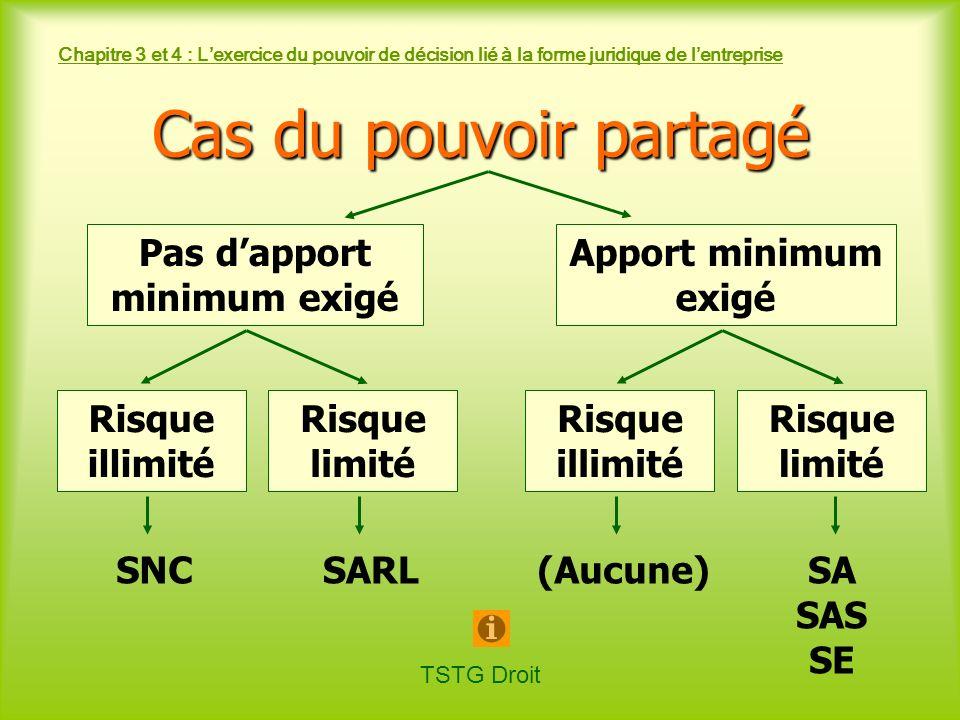 TSTG Droit Chapitre 3 et 4 : Lexercice du pouvoir de décision lié à la forme juridique de lentreprise Pas dapport minimum exigé Apport minimum exigé S