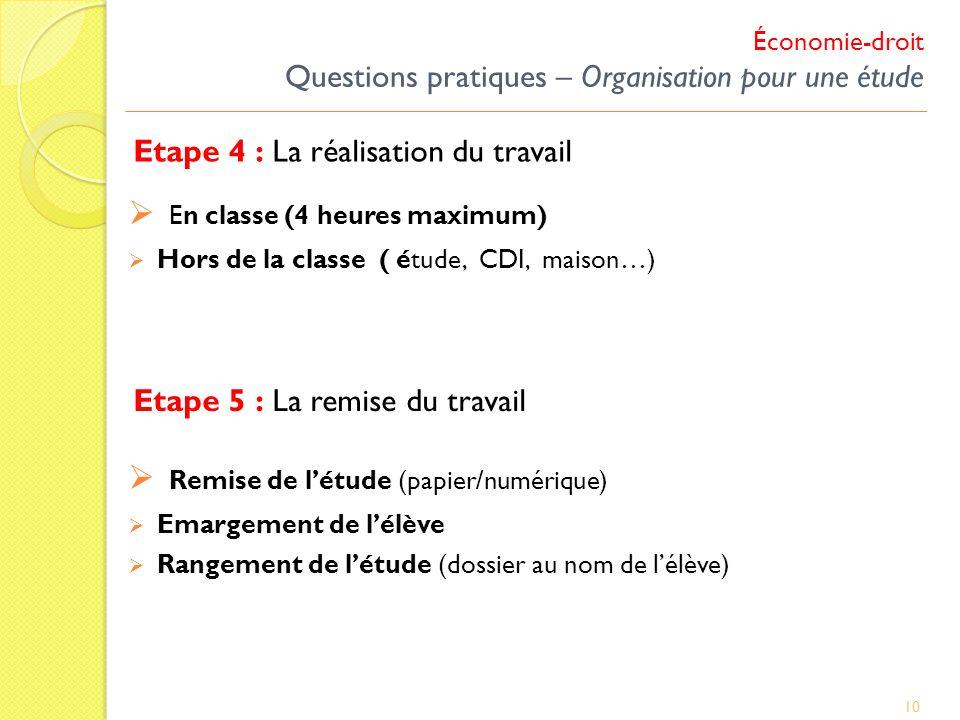 Etape 4 : La réalisation du travail 10 En classe (4 heures maximum) Hors de la classe ( étude, CDI, maison…) Etape 5 : La remise du travail Remise de