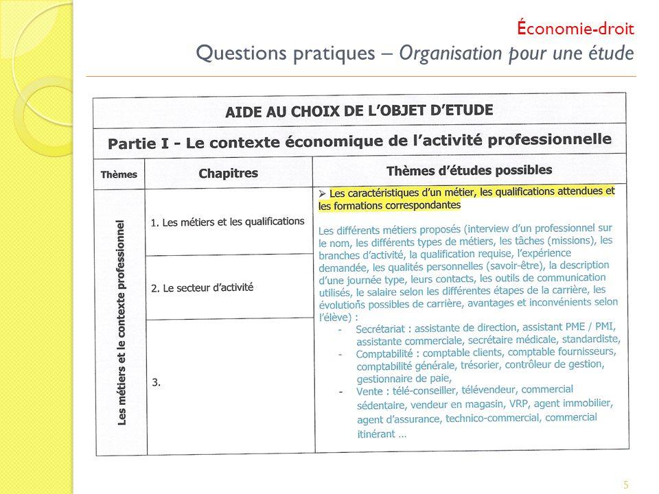 Économie-droit Questions pratiques – Organisation pour une étude 5