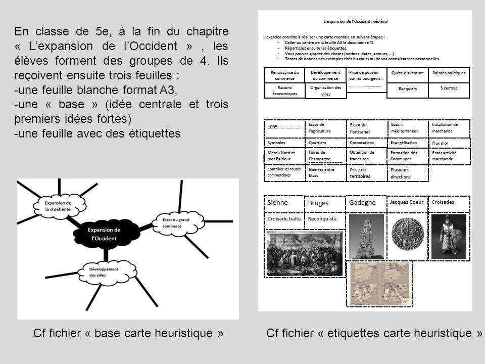 Cf fichier « base carte heuristique »Cf fichier « etiquettes carte heuristique » En classe de 5e, à la fin du chapitre « Lexpansion de lOccident », le