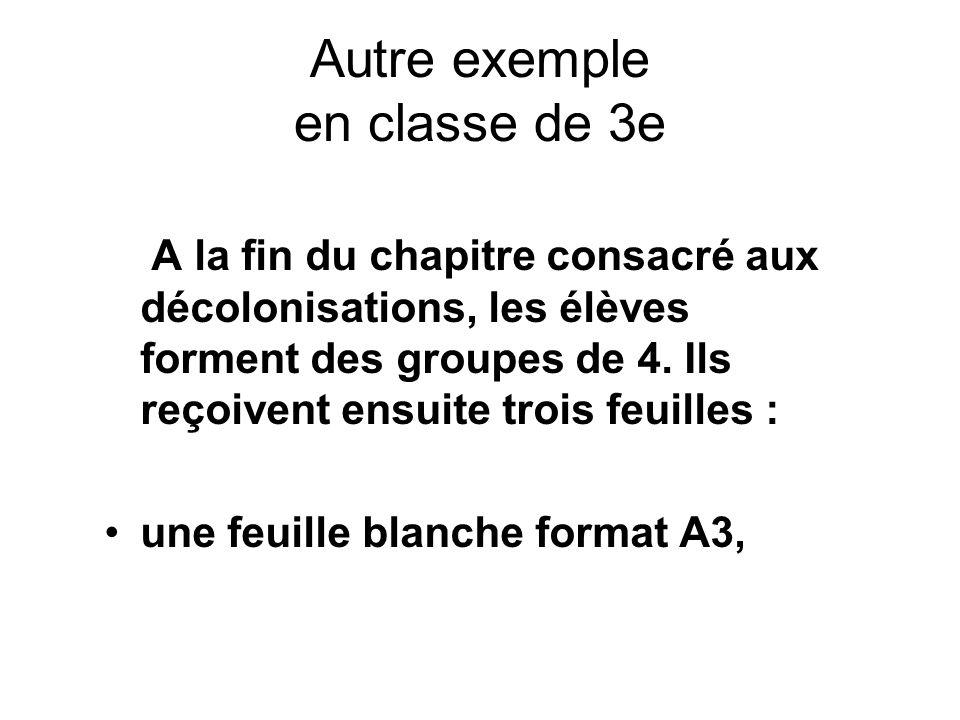 Autre exemple en classe de 3e A la fin du chapitre consacré aux décolonisations, les élèves forment des groupes de 4. Ils reçoivent ensuite trois feui