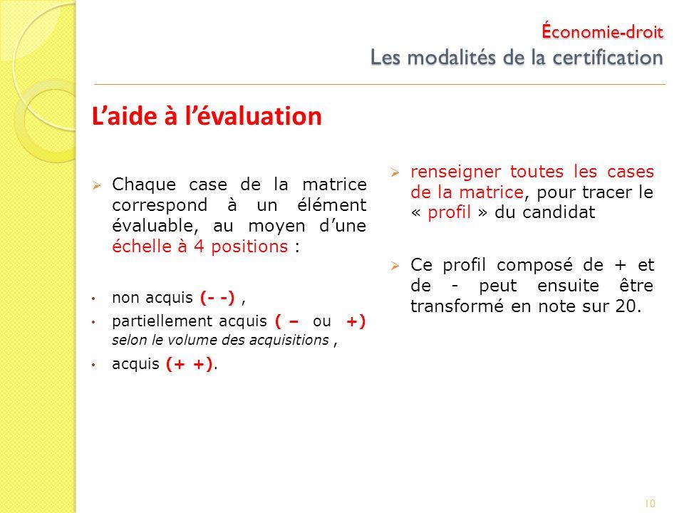 Économie-droit Les modalités de la certification Laide à lévaluation Chaque case de la matrice correspond à un élément évaluable, au moyen dune échell