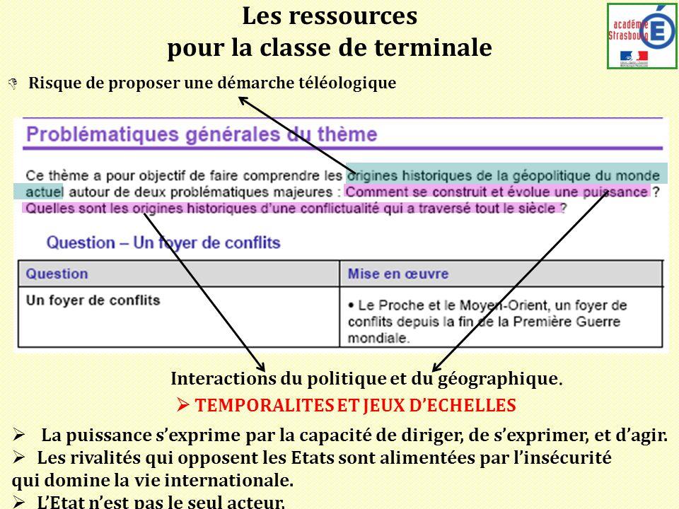 Les ressources pour la classe de terminale Interactions du politique et du géographique.