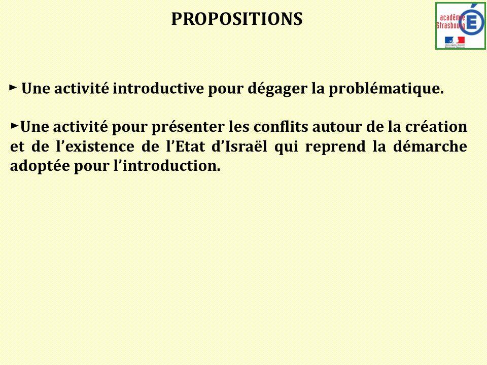 PROPOSITIONS Une activité introductive pour dégager la problématique.