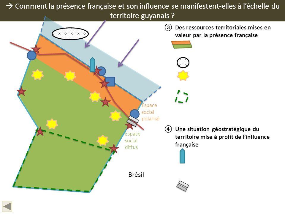 Comment la présence française et son influence se manifestent-elles à léchelle du territoire guyanais ? Des ressources territoriales mises en valeur p
