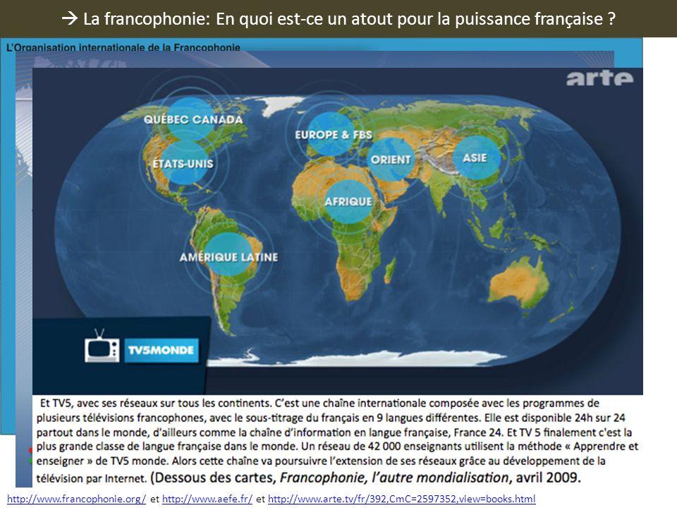 La francophonie: En quoi est-ce un atout pour la puissance française ? http://www.francophonie.org/http://www.francophonie.org/ et http://www.aefe.fr/
