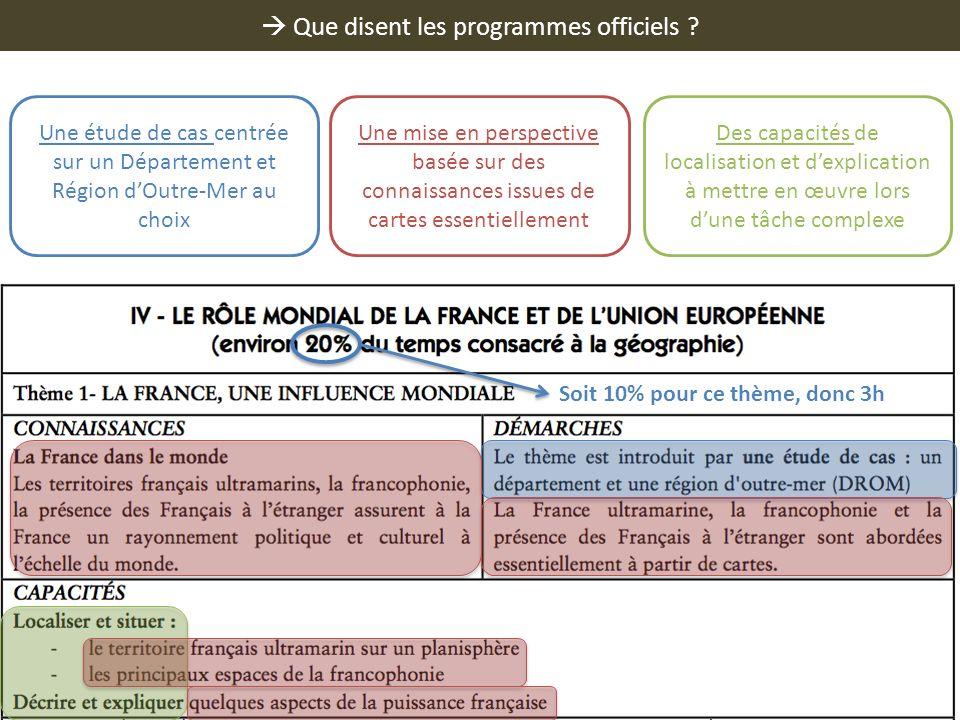 Que disent les programmes officiels ? Une étude de cas centrée sur un Département et Région dOutre-Mer au choix Une mise en perspective basée sur des
