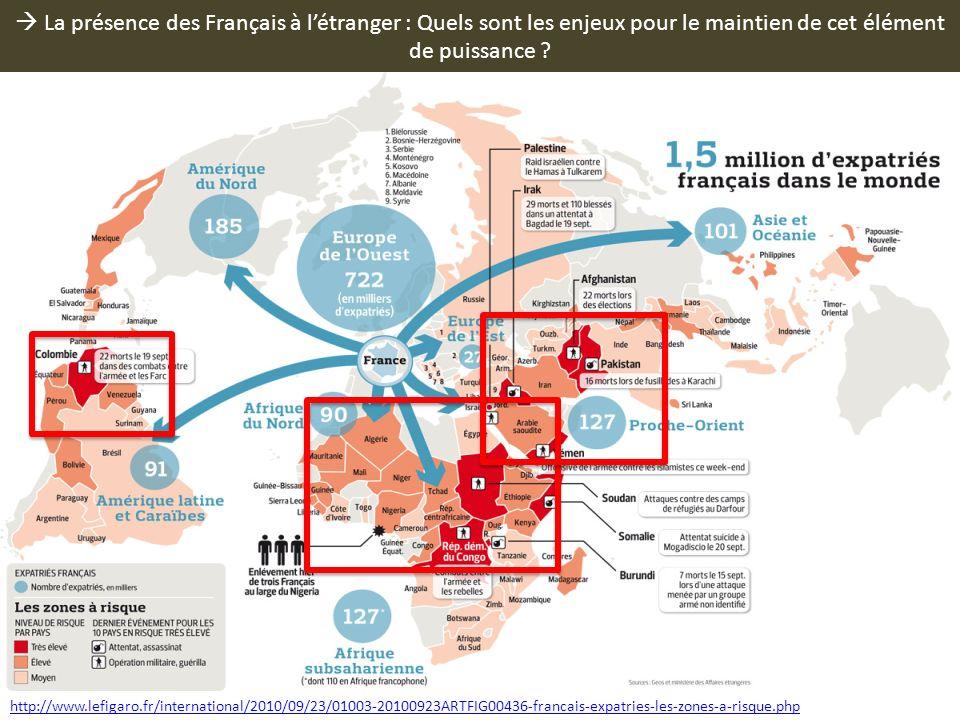 La présence des Français à létranger : Quels sont les enjeux pour le maintien de cet élément de puissance ? http://www.lefigaro.fr/international/2010/